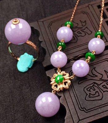 【一朵時光✿優品彙】-時尚A貨翡翠紫項鍊➕戒指 佩戴迷人上檔次