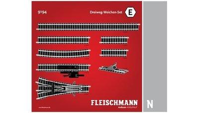 傑仲 博蘭 FLEISCHMANN 鐵軌零件 Track pack Three-way Set E 9194 N