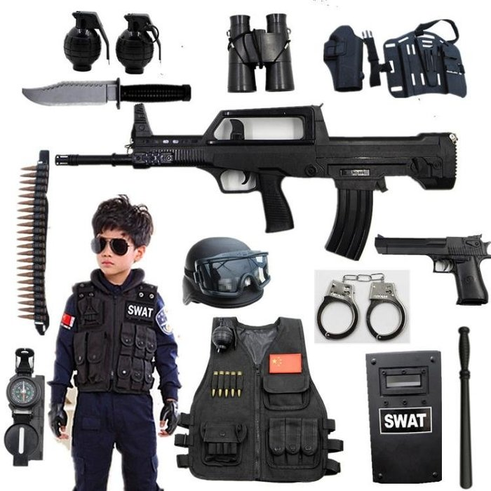 優惠特價中 兒童電動套裝 cos小軍人MP5男孩特警仿真道具