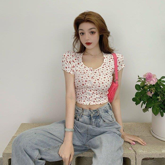 小香風 短袖T恤 時尚穿搭 碎花減齡短袖T恤 韓版 小個子修身短款露臍開衫上衣女