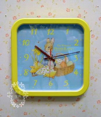 彼得兔黃框方形掛鐘 靜音機芯 台灣製 ...