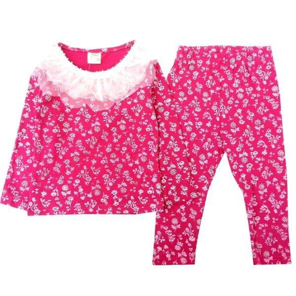 【班比納精品童裝】領蕾絲小碎花寶寶套裝-粉【BM150212001】