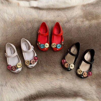 ╭☆包媽子店☆巴西正品Mini Melissa 童款花朵瓢蟲果凍款童鞋((3色))