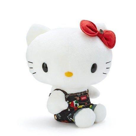 Hello Kitty EDWIN 絨毛玩偶娃娃(L.深藍白)擺飾.玩具