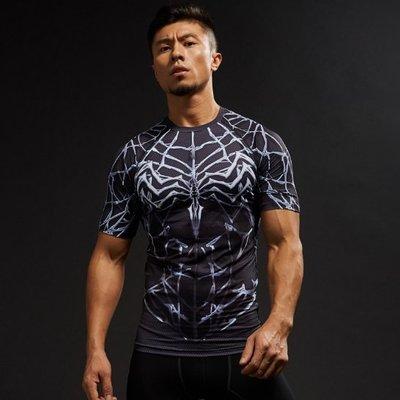 黑色蜘蛛俠  速幹運動短袖T恤 緊身衣 運動緊身衣短袖夏薄款速短袖籃球訓練服速幹瑜伽健身服緊身衣 圓領半袖衫騎行服