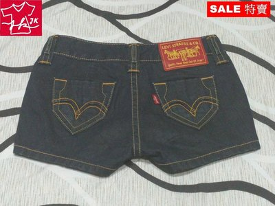 Levis 牛仔短褲 水洗丹寧-女款-深藍黑-26號【J&K嚴選】LV太陽的後裔