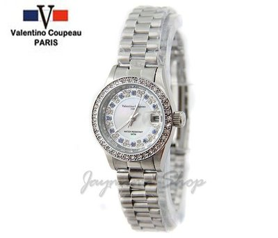 【JAYMIMI傑米】Valentino范倫鐵諾古柏不鏽鋼腕錶-貝殼面水鑽面板石英錶 特價850 小