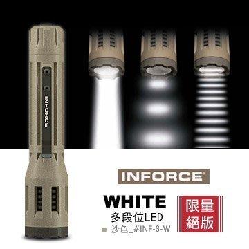 【angel 精品館 】美國 INFORCE WHITE 多段LED 225流明戰術手電筒INF-S-W 沙色