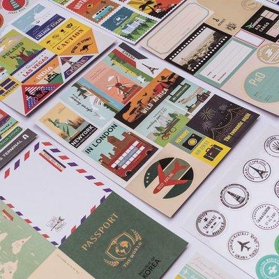 韓國個性裝飾貼紙seeso旅行達人郵票...