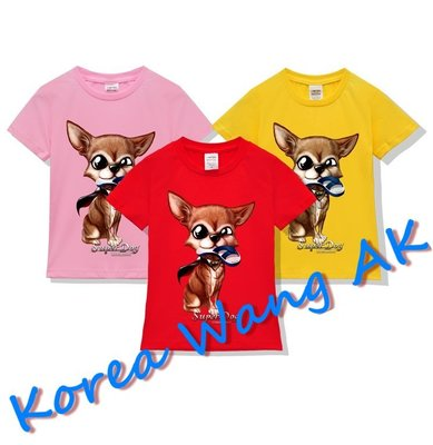 Korea Wang AK ~(預購)台灣原創獨家設計 美國純棉 限定版 藍白拖吉娃娃兒童青少年版T 六款【P111】