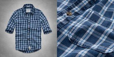 Abercrombie&Fitch (A&F) BOUNDARY PEAK INDIGO SHIRT 長袖格紋襯衫