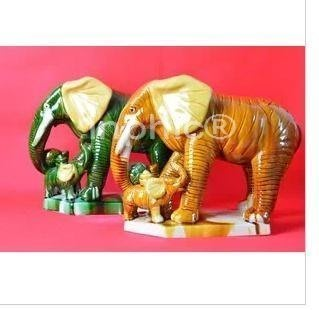 INPHIC-舐犢情深大象 唐三彩陶瓷象擺飾時尚家居飾品工藝商務父母禮