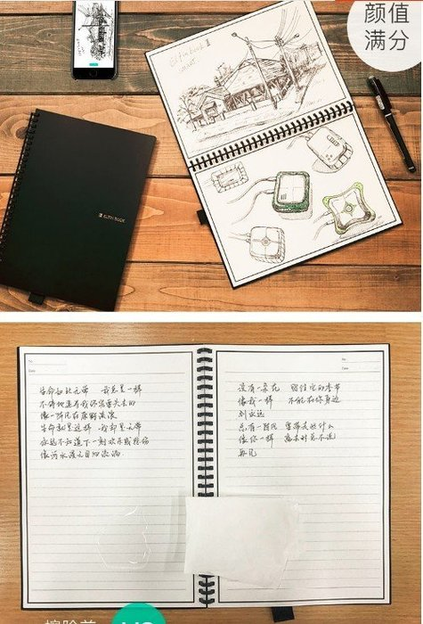 APP手寫筆記本 濕紙巾可重複擦寫本 科技創意個性玩意 生日禮物(A5款)_☆優購好SoGood☆