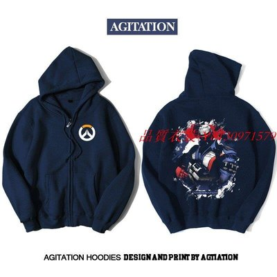 [品質衣裝]  Agitation潮流印花開衫拉鏈加絨衛衣游戲電競守望先鋒76號士兵