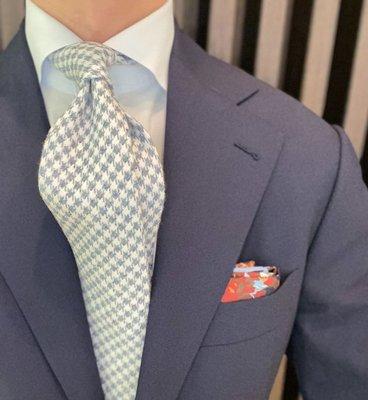意大利手工製領帶 淺藍 千鳥