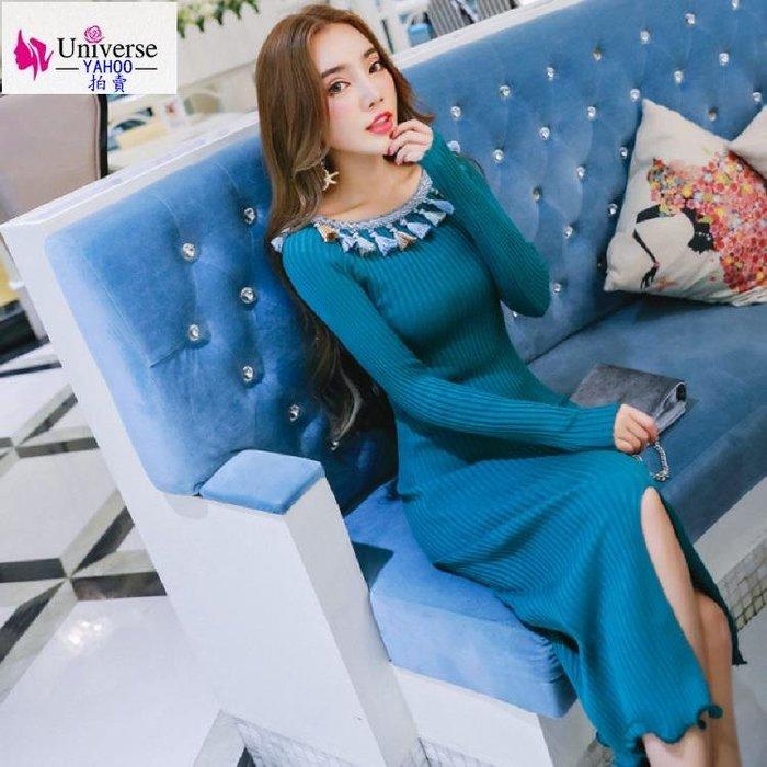歐美韓版流行氣質秋冬新品女裝韓版針織修身中長款百搭包臀毛衣連衣裙