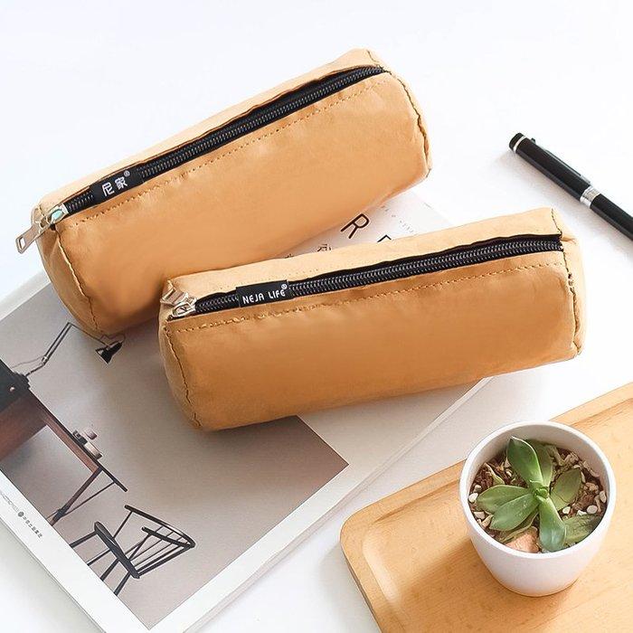 MY#爆款#日原創簡約水洗牛皮紙筆袋大容量學生帆布鉛筆盒文具袋