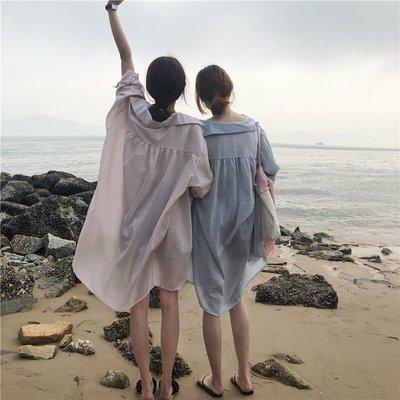 長袖襯衫女2018春裝新款 寬松百搭學生中長款薄防曬襯衣夏
