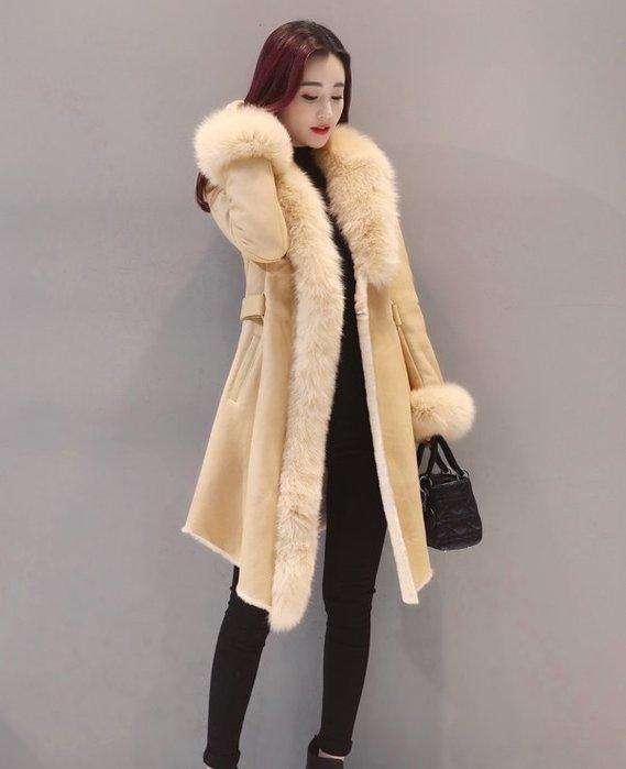 ~Linda~冬季棉衣外套女中長款2018新款加厚修身大毛領麂皮絨皮毛一體大衣