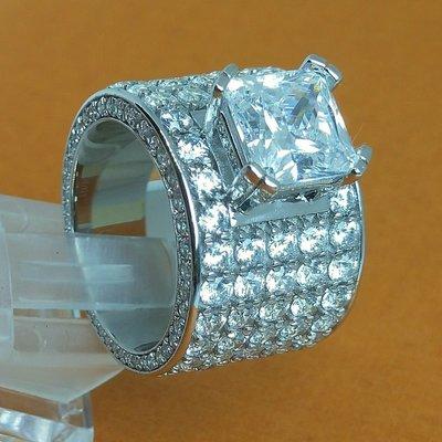 4克拉公主方鑽石豪華男戒奢豪鑽戒真全滿鑽加大碎鑽滿天星925純銀鍍鉑金指環鑲嵌高碳鑽戒指極光火彩鑽戒火光媲美真鑽石莫桑鑽寶特價