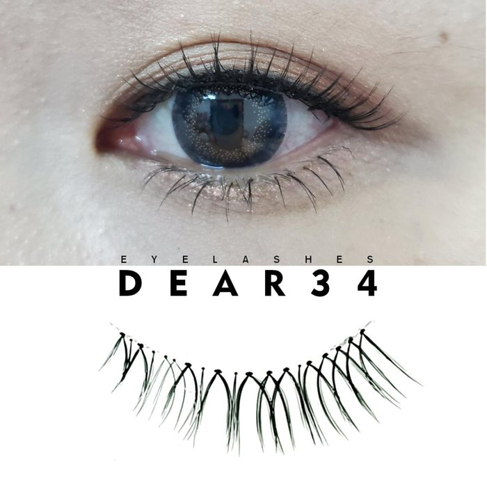 《Dear34》極細磨尖021透明梗V型交叉眼尾加長短款1cm純手工編織假睫毛一盒五對入