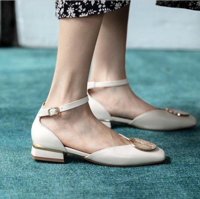『Alice❤愛麗絲』夏季新款低跟粗跟小方頭包頭涼鞋一字扣帶仙女鞋羅馬鞋
