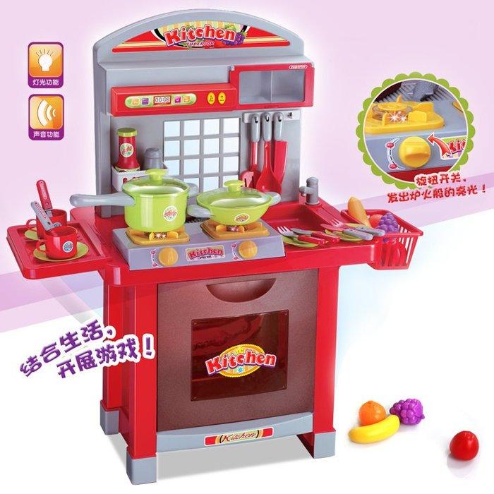 專櫃新款-多功能廚房組合台~仿真家家酒玩具~有燈光音效喔~◎童心玩具1館◎