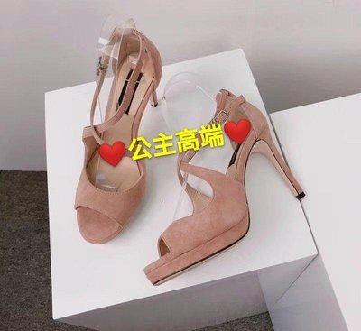 ♥公主高端♥香港代購 Weslien R.owe 原單 全羊皮 防水台 交叉 高跟涼鞋 羅馬鞋 裸粉 二色特價