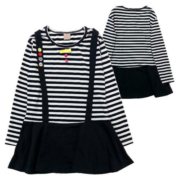 【班比納精品童裝】黑學院風橫條洋裝-黑