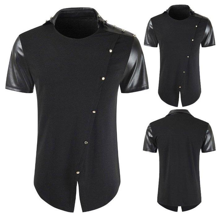『潮范』  N4 外貿大碼T恤 男士拼皮時尚簡章撞色T恤 中長款翻領短袖T恤 素面T恤