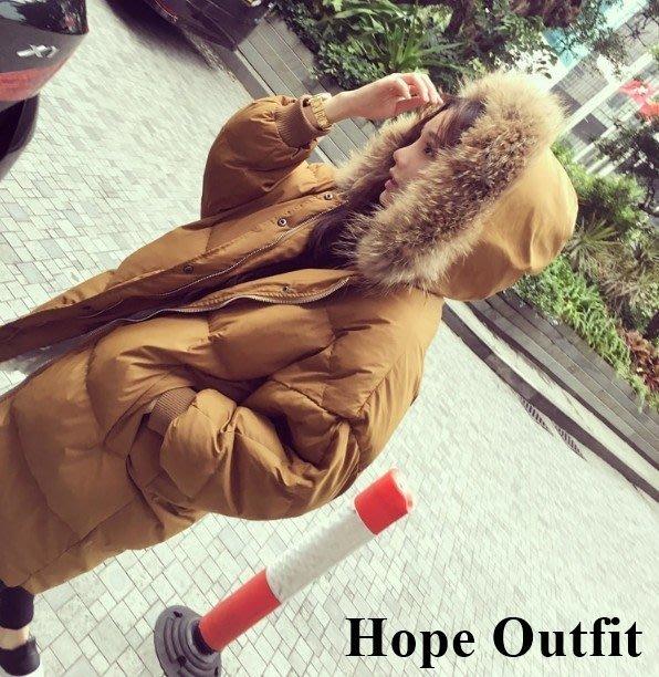 韓國 焦糖色針毛領 長版羽絨大衣 外套 長版羽絨外套  防風防沾絨  羽絨外套 韓版外套  羽絨外套 羽絨衣 雪衣