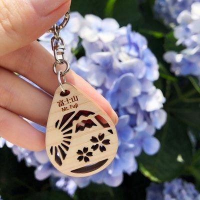 日本製不知三櫻花圖案檜木鑰匙圈