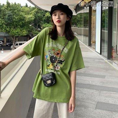 ZIHOPE 春裝韓版寬鬆休閒卡通短袖T恤女網紅圓領中袖上衣打底衫ZI812