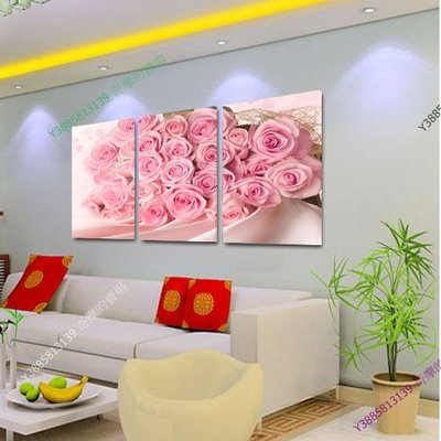 【35*50cm】【厚2.5cm】粉色玫瑰-無框畫裝飾畫版畫客廳簡約家居餐廳臥室牆壁【280101_507】(1套價格)