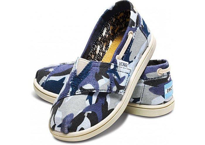 ☆╮A&T-TOMS╭☆ 美國品牌TOMS Canvas Tiny Biminis防滑學步【迷彩藍-後有調整扣】