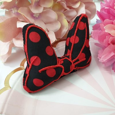 紅點蝴蝶結髮夾