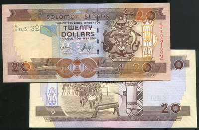 【紙幣】Solomon Is. (所羅門群島),P28a 20 Dollars,(2006),品相全新UNC