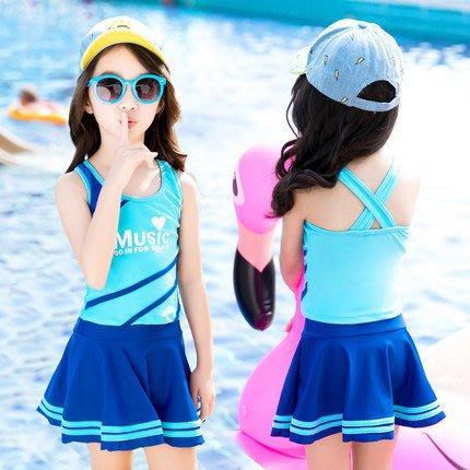 [C.M.平價精品館]XL~5XL現貨/女童舒適好穿俏麗藍色/玫紅色兩件式泳衣+平口褲三件組泳衣