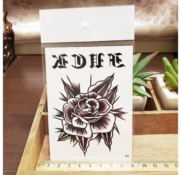 【萌古屋】】玫瑰英文 - 手背防水紋身貼紙刺青貼紙01 K12