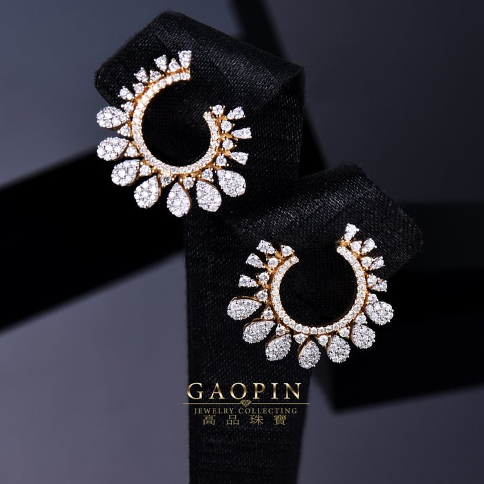 【高品珠寶】18K 設計款《穗花》鑽石耳環 真金真鑽 情人節禮物 生日禮物 (訂製款) #3397