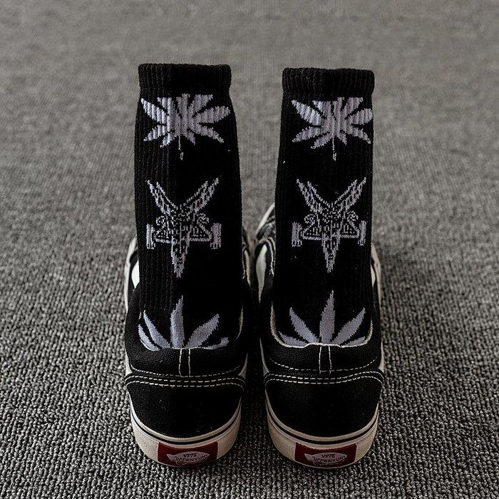 韓國韓系韓版韓風 日系 歐美街頭潮牌楓葉中長筒襪子原宿風男女個性街舞運動滑板長襪
