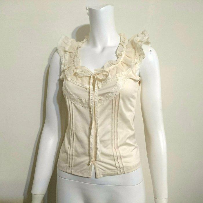 Apuweiser-riche正品 小飛袖顯瘦無修蕾絲荷葉領上衣 日本製 貴婦專櫃