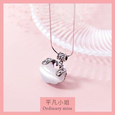 【平凡小姐】 S925純銀 ❤ 韓國簡約貓眼石復古長命鎖鎖骨鍊純銀項鍊項鏈
