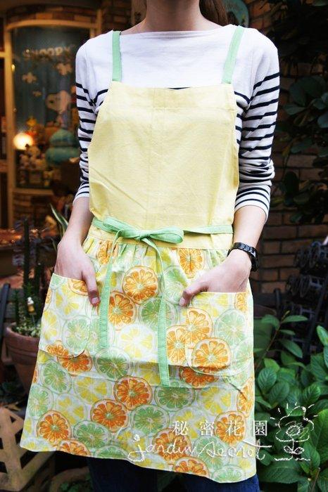 圍裙工作服--日本進口100%純棉鮮黃檸檬雙口袋綁帶圍裙/工作服/限時優惠--秘密花園