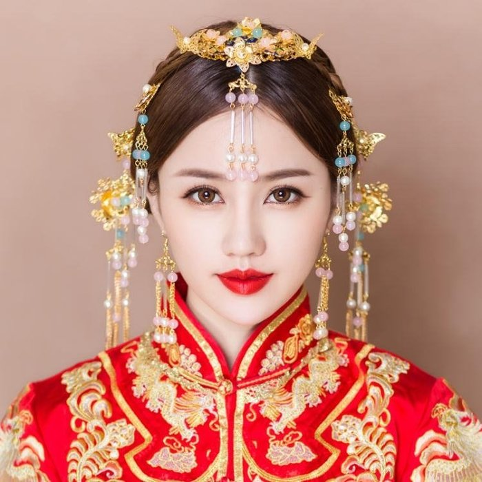 婚紗名店指定款新品新娘造型頭飾中式古裝流蘇髮飾秀禾服龍鳳褂鳳冠婚禮結婚飾品小c推薦