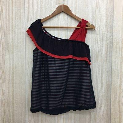 【愛莎&嵐】ohoh-mini 歐歐咪妮 女 黑色網紗紅白條紋斜肩上衣孕婦裝 / L 1061011