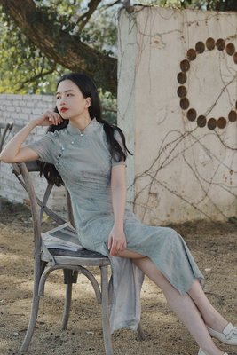 WANTING晚《水迢迢》全刺繡改良旗袍仙女風顯瘦連衣裙新款@桔苑裝飾