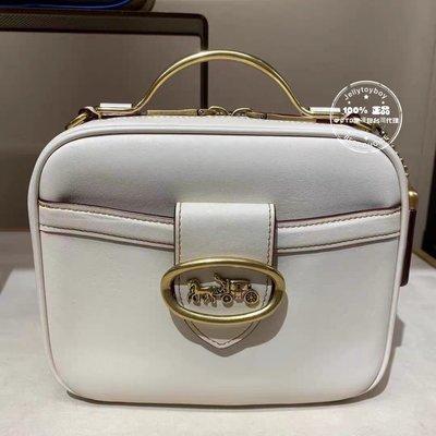 美國現貨接單中 白色 全新正品 COACH 93846 Riley Lunchbox Bag 復古箱子包 餐盒包 化妝箱