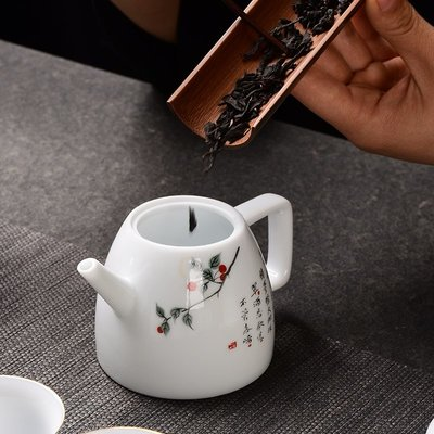 慕洛斯家居~德化白瓷玉泥茶壺 創意陶瓷單壺手工功夫茶具 家用簡約過濾泡茶器