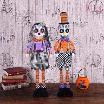 ☆[Hankaro]☆ 歐美創意萬聖節布置道具骷髏夫妻造型公仔裝飾